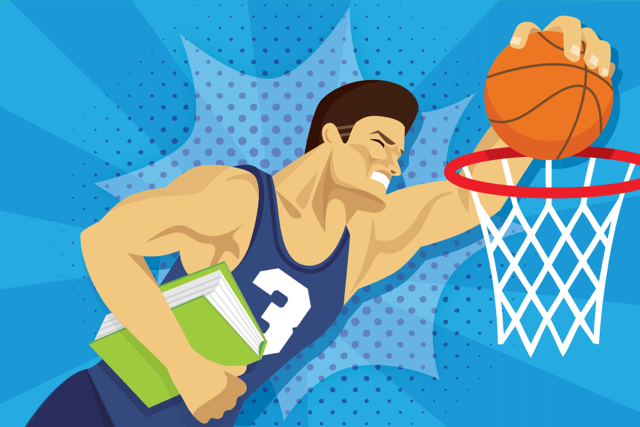 Illustration of a teenager dunking a basketball.