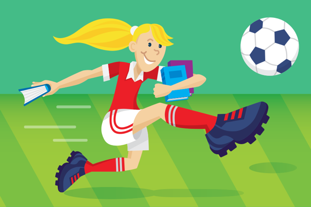 Illustration of a adolescent kicking a soccer ball.