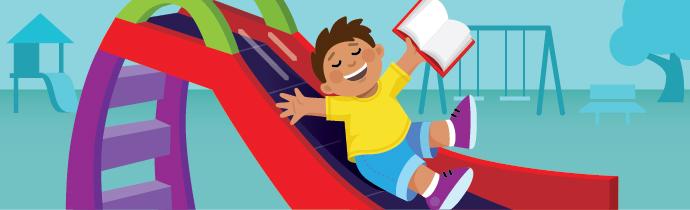 Illustration of a child sliding down a slide.